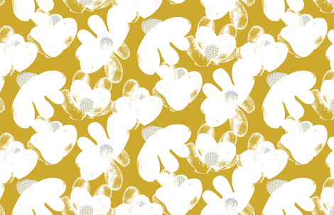 Wildflowers M+M Ocher by Friztin fabric by friztin on Spoonflower - custom fabric