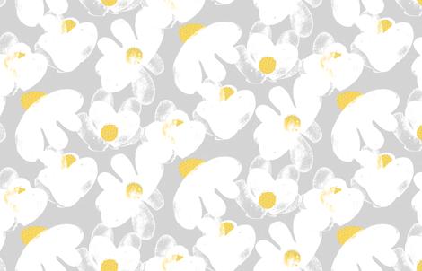 Wildflowers Grey M+M Yolk by Friztin fabric by friztin on Spoonflower - custom fabric