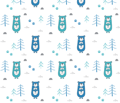 Bears in the woods fabric by sarakristinedesigns on Spoonflower - custom fabric