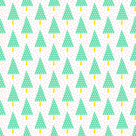 Teal and Yellow Pine Trees with Orange Snow fabric by emmafreemandesigns on Spoonflower - custom fabric