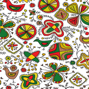 Archaic Ethno Folk Birds and Flowery Pattern