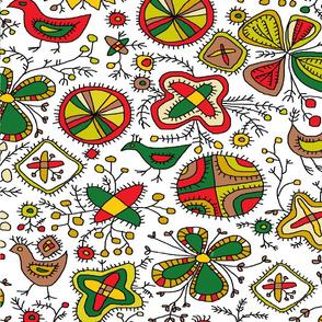 Archaic Ethno Folk Birds and Flowery Pattern