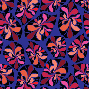 African inspired abstract leaves. Orange, pink, coral, red, peach and black leaves on a vivid blue background.