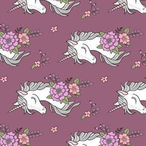 Dreamy Unicorn & Vintage Boho Flowers on Mauve Smaller Rotated