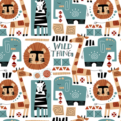 Wild Thing (Blue & Orange) fabric by sarah_treu on Spoonflower - custom fabric