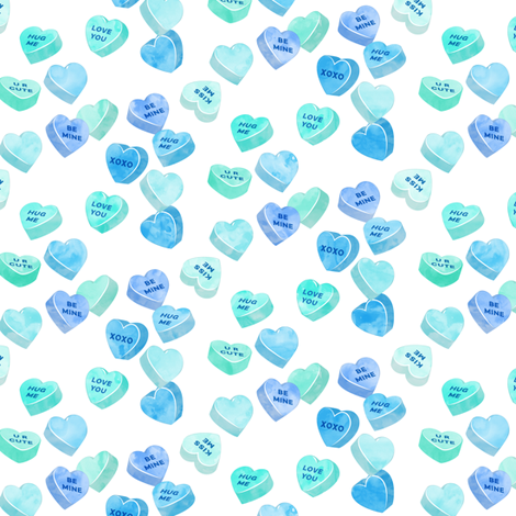 valentines day heart candy - conversation hearts on  stripes (mint and blue) fabric by littlearrowdesign on Spoonflower - custom fabric