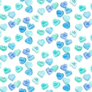 valentines day heart candy - conversation hearts on  stripes (mint and blue)