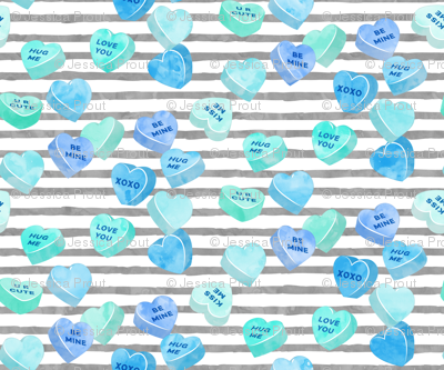 valentines day heart candy - conversation hearts on  stripes (mint and blue on grey stripes)