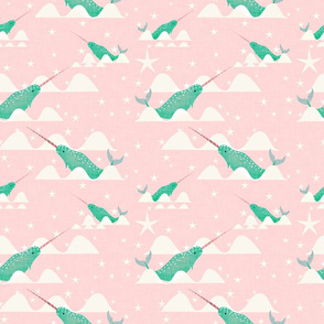 Narwhal Mint and pink background