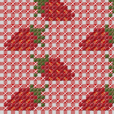 Strawberry Chickenscratch Gingham Fabric Eclectichouse Spoonflower