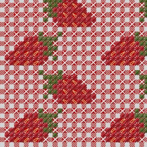Strawberry Chickenscratch Gingham