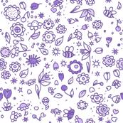 Violet doodle flowers // multi directional