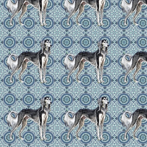 saluki with floral pattern