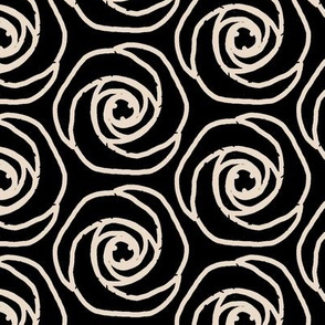 Soft hexagonal flowers-black