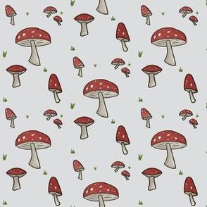 Grey and red Toadstool Woodland Mushroom-ch-ch-ch