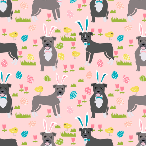 pitbull easter fabric - cute easter bunny dogs and spring design - pink fabric by petfriendly on Spoonflower - custom fabric