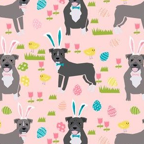 pitbull easter fabric - cute easter bunny dogs and spring design - pink