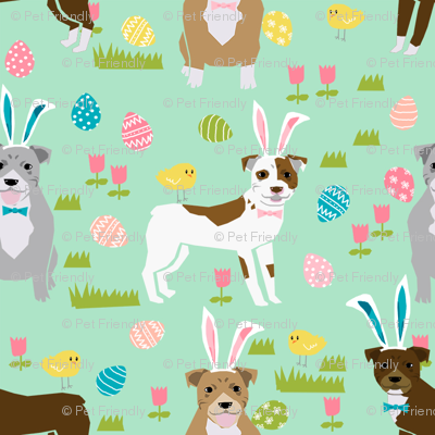 pitbull easter fabric - cute easter bunny dogs and spring design - mint
