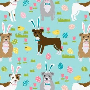pitbull easter fabric - cute easter bunny dogs and spring design - blue