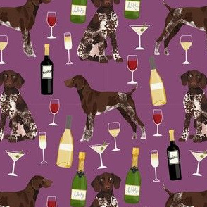 german shorthaired pointer wine fabric - cute dogs and wine, champagne - purple