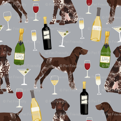 german shorthaired pointer wine fabric - cute dogs and wine, champagne - grey