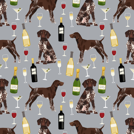 german shorthaired pointer wine fabric - cute dogs and wine, champagne - grey fabric by petfriendly on Spoonflower - custom fabric