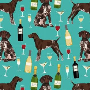 german shorthaired pointer wine fabric - cute dogs and wine, champagne - turquoise