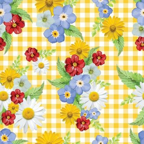 Yellow Gingham Floral