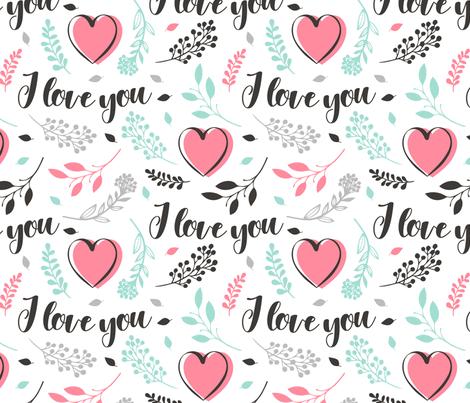 I Love You - Valentines Day fabric by heatherhightdesign on Spoonflower - custom fabric