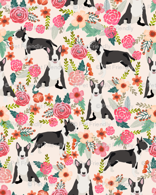 bull terrier floral fabric- cute dogs and florals design -cream