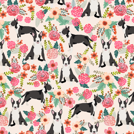 bull terrier floral fabric- cute dogs and florals design -cream fabric by petfriendly on Spoonflower - custom fabric