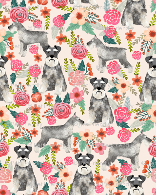 schnauzer floral fabric- cute dogs and florals design -cream