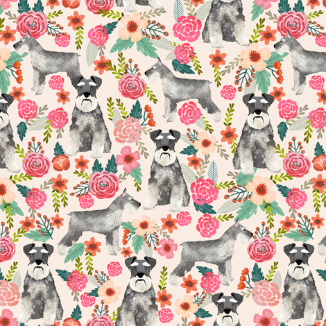 schnauzer floral fabric- cute dogs and florals design -cream fabric by petfriendly on Spoonflower - custom fabric