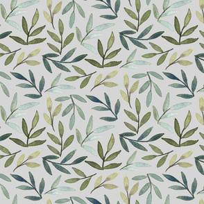 Blue and Green Leaves on Gray