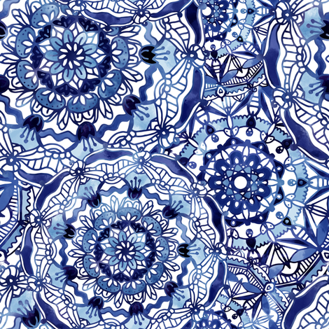 Delft Blue Mandalas fabric by noondaydesign on Spoonflower - custom fabric