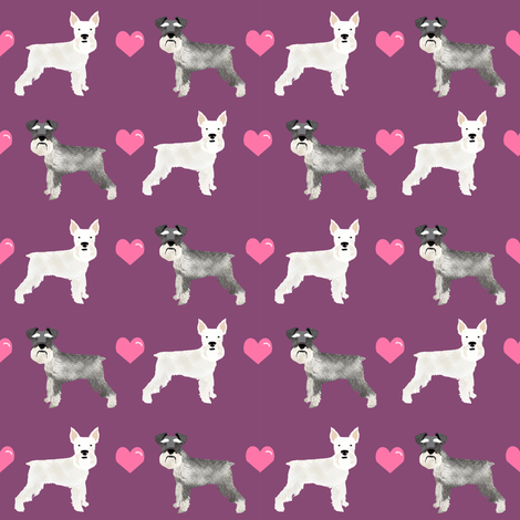Schnauzer Love Fabric White And Grey Schnauzers Dog Love