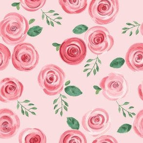 Watercolor Roses // Reds and Pinks on Blush