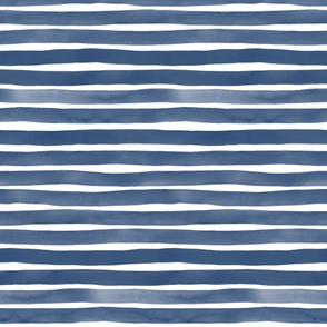 Watercolor Stripes M+M Navy Blue by Friztin
