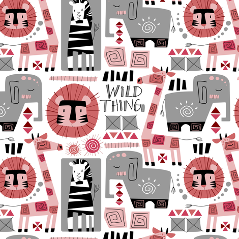 Wild Thing (Pink & Gray) fabric by sarah_treu on Spoonflower - custom fabric