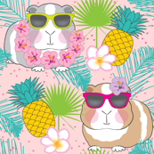 tropical guinea pigs on soft pink