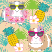 tropical guinea pigs on beige