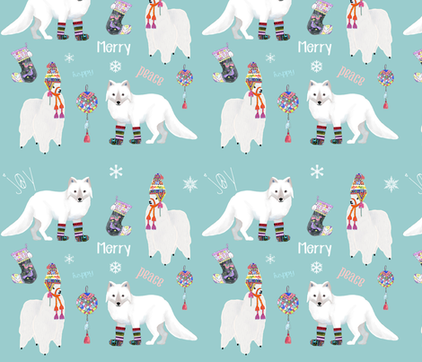Winter Alpaca And Fox fabric by uncommondepth on Spoonflower - custom fabric