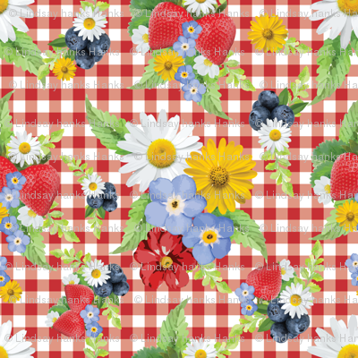 Strawberries and Blueberries Gingham Floral