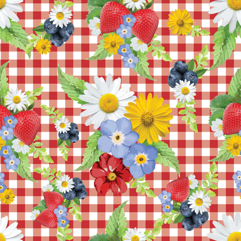 Strawberries and Blueberries Gingham Floral fabric by twodreamsshop on Spoonflower - custom fabric