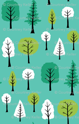 Trees on turquoise