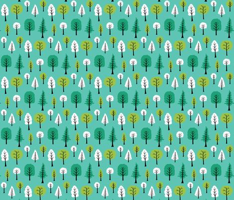 Trees on turquoise fabric by onelittleprintshop on Spoonflower - custom fabric