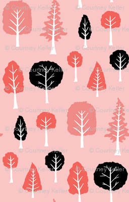 Trees on pale pink