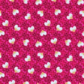 Rose Pink Dahlia Texture with Hearts 2