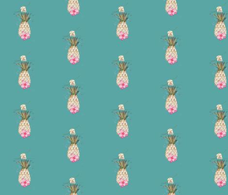 PINEAPPLE 10Cents TEAL fabric by hunnellekari on Spoonflower - custom fabric