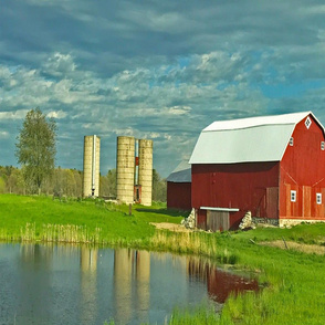 Red barn on Fisher with pond